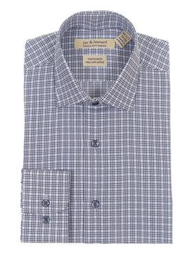 Mens Regular Fit Black & White Plaid Cotton Blend Dress Shirt