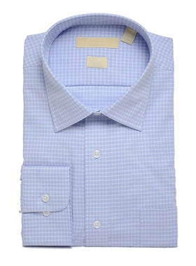 Mens Slim Fit Light Blue Check Easy Care Cotton Dress Shirt