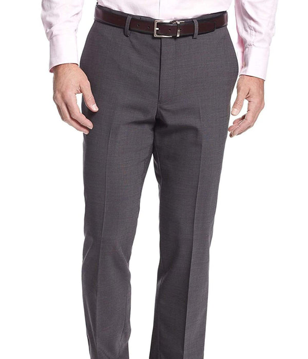 Kenneth Cole PANTS 38X30 Kenneth Cole Regular Fit Charcoal Gray Checks Flat Front Wool Dress Pants