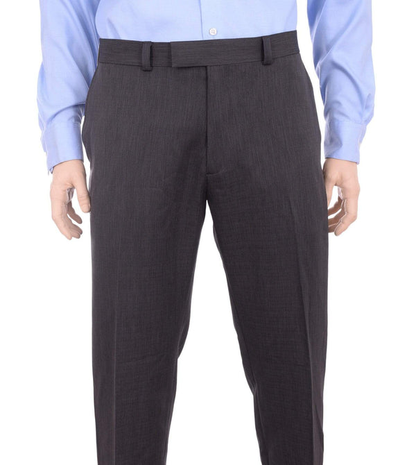 Kenneth Cole PANTS 38X32 Kenneth Cole Regular Fit Charcoal Gray Heather Washable Flat Front Dress Pants