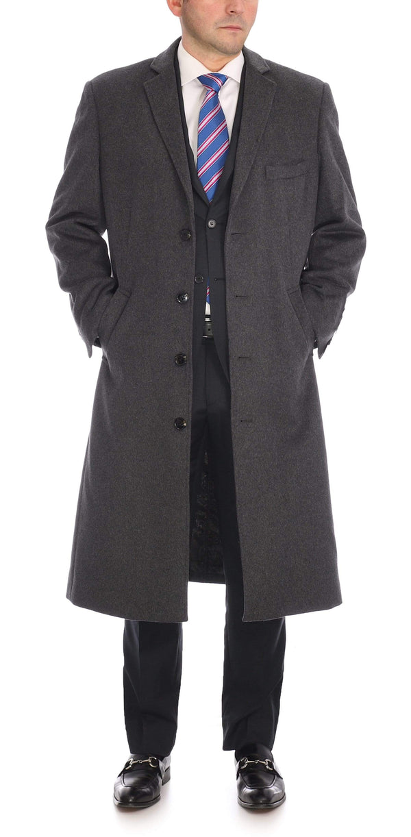Label E OUTERWEAR 40R / Charcoal Grey Mens Regular Fit Solid Charcoal Gray Full Length Wool Cashmere Overcoat Top Coat