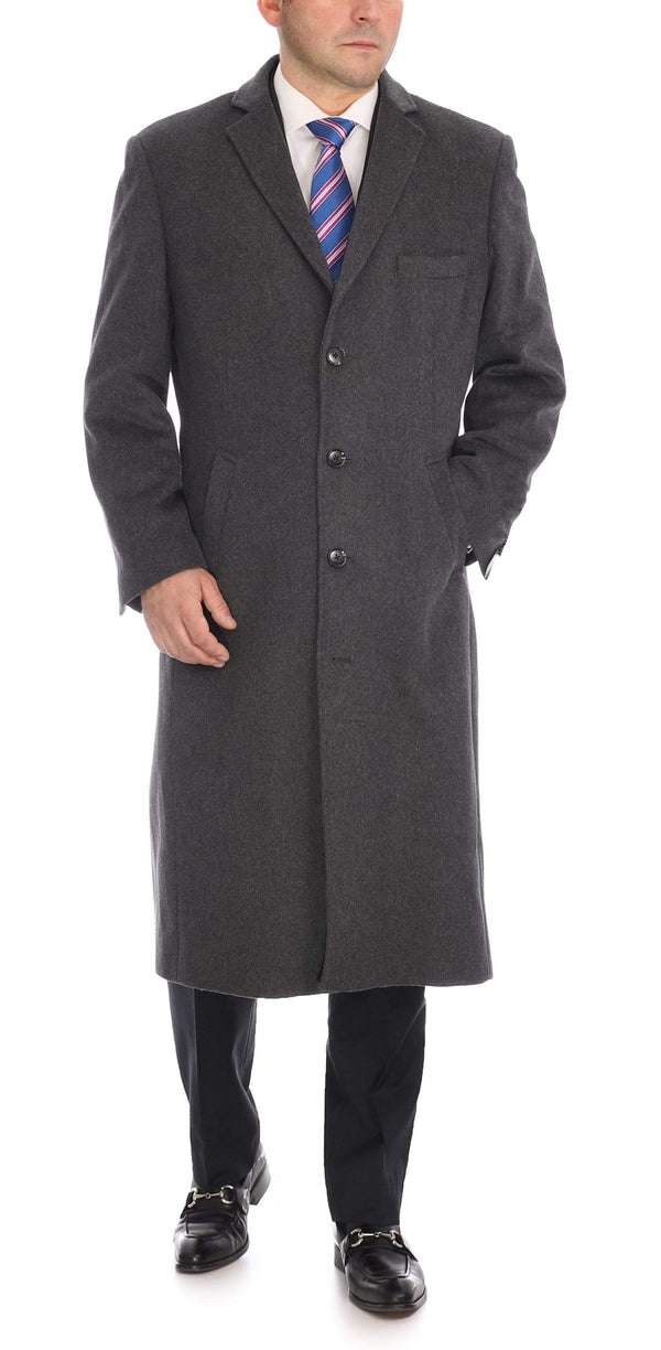 Label E OUTERWEAR Mens Regular Fit Solid Charcoal Gray Full Length Wool Cashmere Overcoat Top Coat