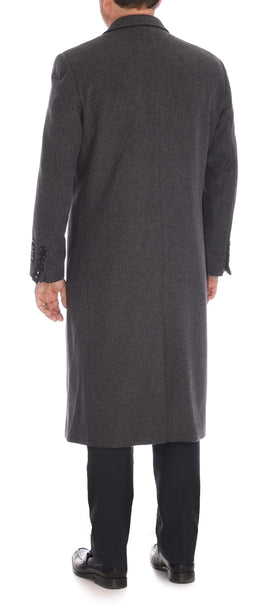 Mens Regular Fit Solid Charcoal Gray Full Length Wool Cashmere Overcoat Top Coat