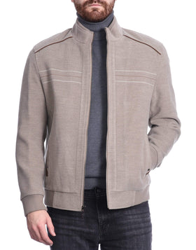 The Suit Depot Men's Tan Zip Up Bomber Jacket