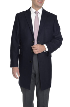 The Suit Depot Men's Wool Cashmere Single Breasted Blue 3/4 Length Top Coat