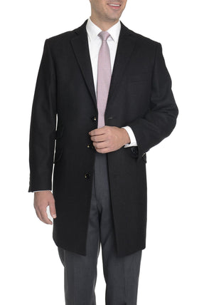 The Suit Depot Men's Wool Cashmere Single Breasted Black 3/4 Length Top Coat