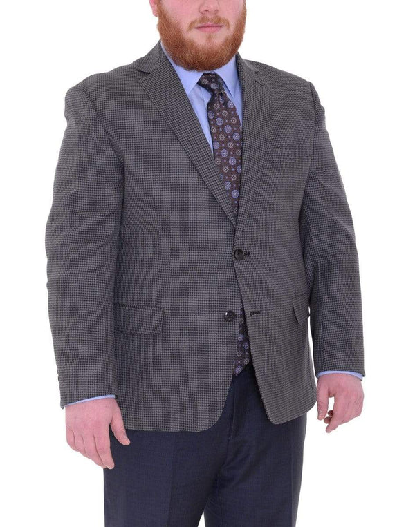 Label M BLAZERS Mens Modern Fit Gray & Black Check Two Button Wool Blazer Sportcoat