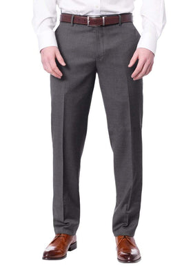 Mens Extra Slim Fit Solid Medium Gray Flat Front Wool Dress Pants