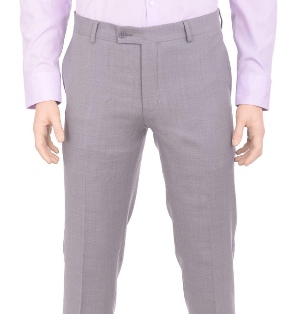 Label M PANTS 34W Mens Extra Slim Fit Light Heather Gray Flat Front Wool Dress Pants
