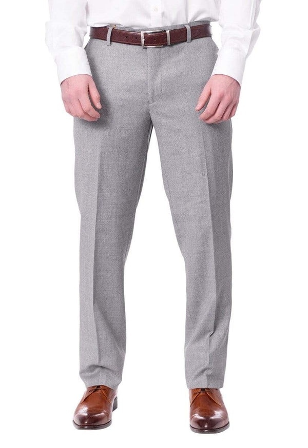Label M PANTS Mens Extra Slim Fit Light Heather Gray Flat Front Wool Dress Pants