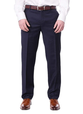 Mens Slim Fit Solid Navy Blue Flat Front Wool Dress Pants