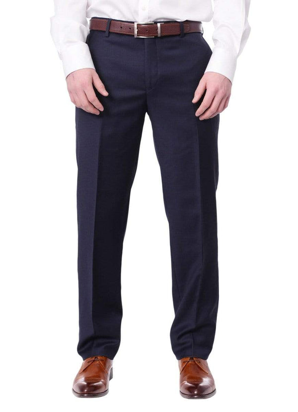 Label M PANTS Mens Slim Fit Solid Navy Blue Flat Front Wool Dress Pants