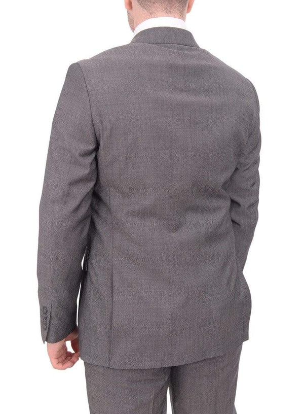 Label M TWO PIECE SUITS Mens Extra Slim Fit Gray Textured Two Button Wool Blend Suit