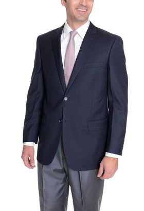 Mens Classic Fit Solid Navy Blue Two Button Wool Blazer Suit Jacket