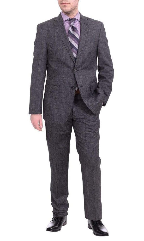 London Fog TWO PIECE SUITS Mens Slim Fit Charcoal Gray Plaid Two Button Wool Suit