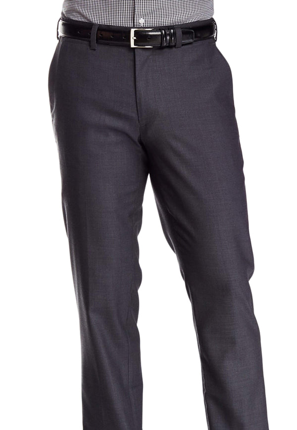 Louis Raphael PANTS 38X30 Louis Raphael Classic Fit Charcoal Windowpane Flat Washable Wool Dress Pants