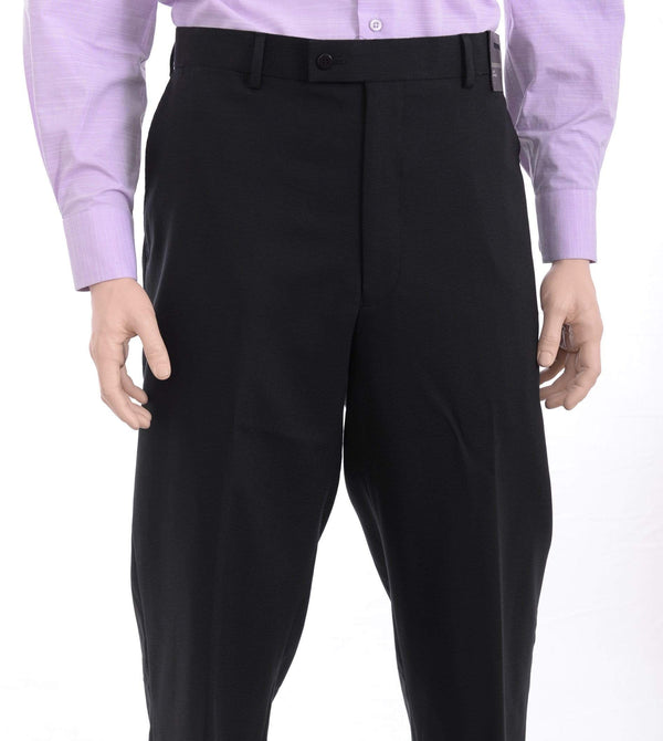 Louis Raphael PANTS 38X32 Louis Raphael Classic Fit Black Textured Flat Front Wool Dress Pants