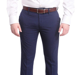 Mazari Slim Fit Solid Navy Blue Flat Front Washable Stretch Dress Pants