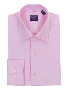Classic Fit Raspberry Pink Twill Standard Cuff Cotton Dress Shirt