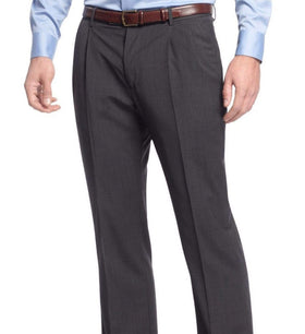 Nautica Classic Fit Gray Mini Check Double Pleated Wool Blend Dress Pants