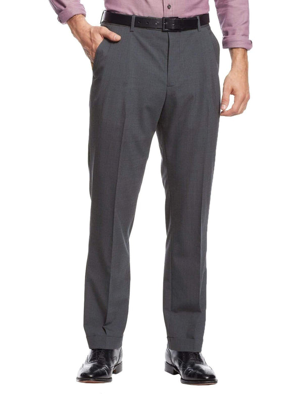 Nautica Regular Fit Gray Mini Check Flat Front Stretch Wool Blend Dress Pants - The Suit Depot