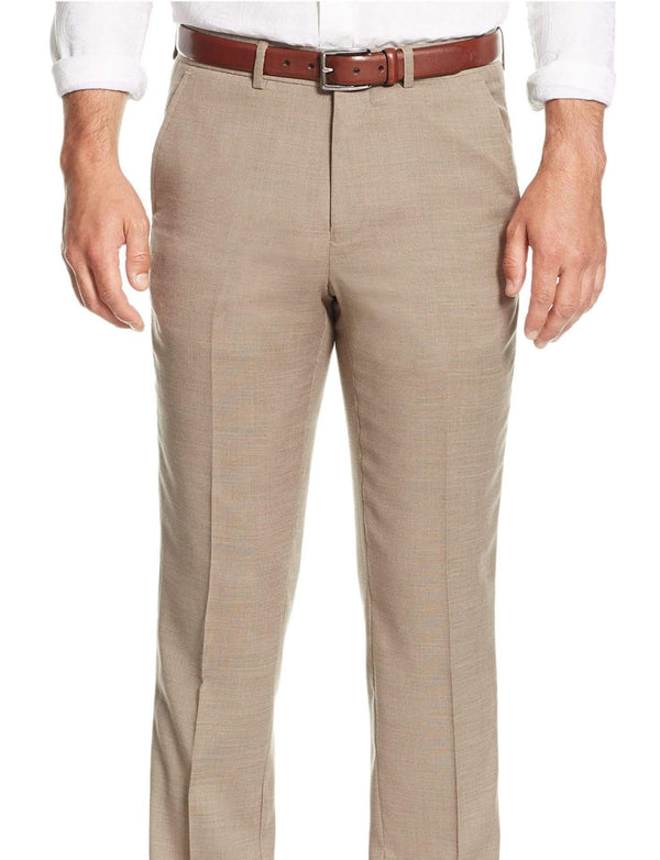 Nautica Classic Fit Tan Stepweave Flat Front Stretch Wool Blend Dress Pants - The Suit Depot