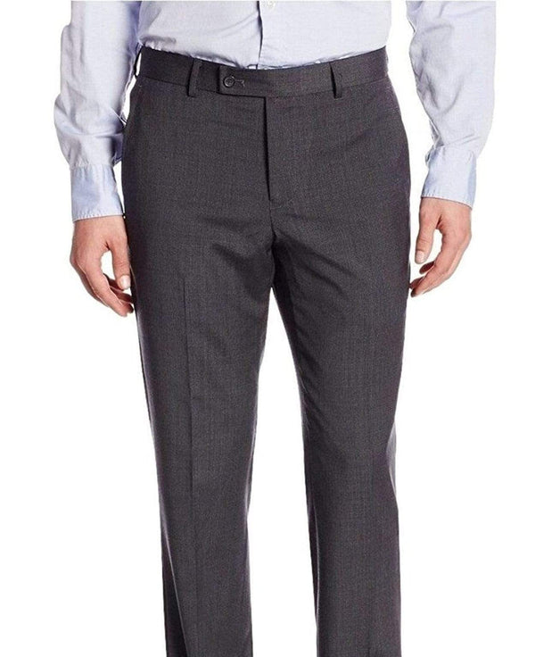 Nautica PANTS 34X30 Nautica Regular Fit Charcoal Gray Mini Check Flat Front Stretch Wool Dress Pants