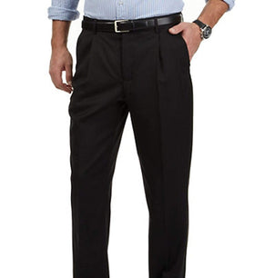 Nautica Classic Fit Solid Black Double Pleated Wool Blend Dress Pants