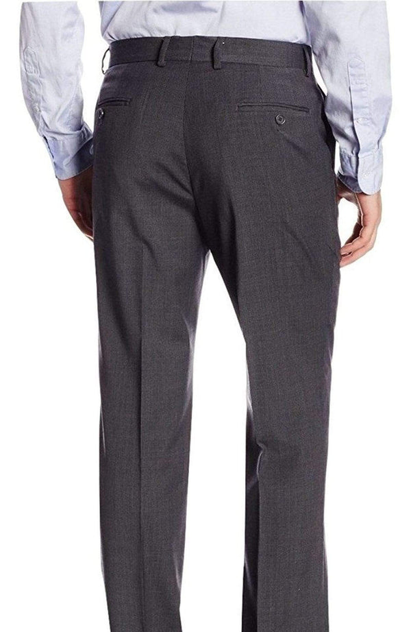 Nautica PANTS Nautica Regular Fit Charcoal Gray Mini Check Flat Front Stretch Wool Dress Pants