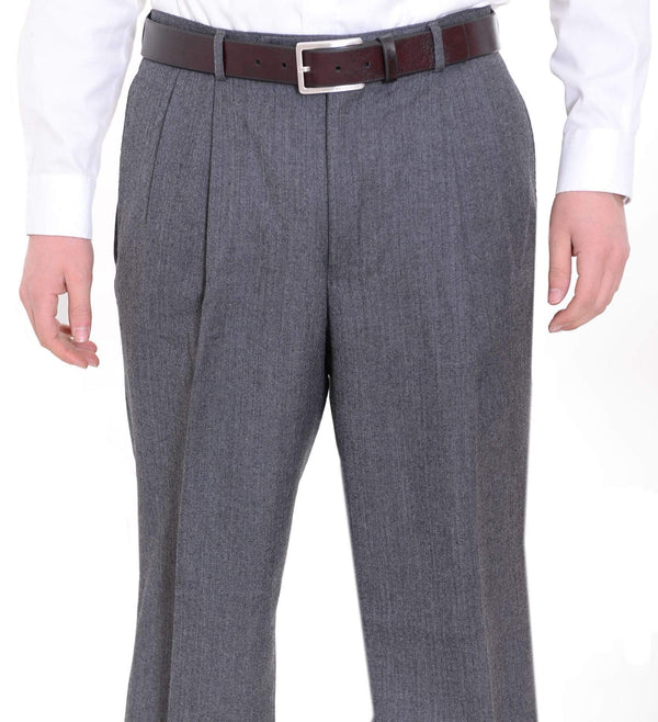 Nautica Sale Pants 30X30 Nautica Regular Fit Gray Herringbone Pleated Wool Dress Pants