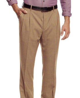 Nautica Mens Classic Fit Brown Houndstooth Pleated Washable Dress Pants