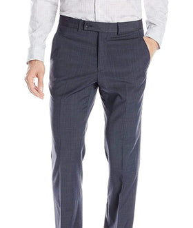 Nautica Classic Fit Blue Textured Flat Front Wool Blend Dress Pants