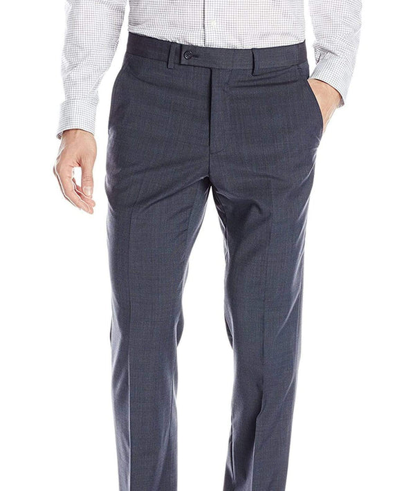 Nautica Classic Fit Blue Textured Flat Front Wool Blend Dress Pants - The Suit Depot