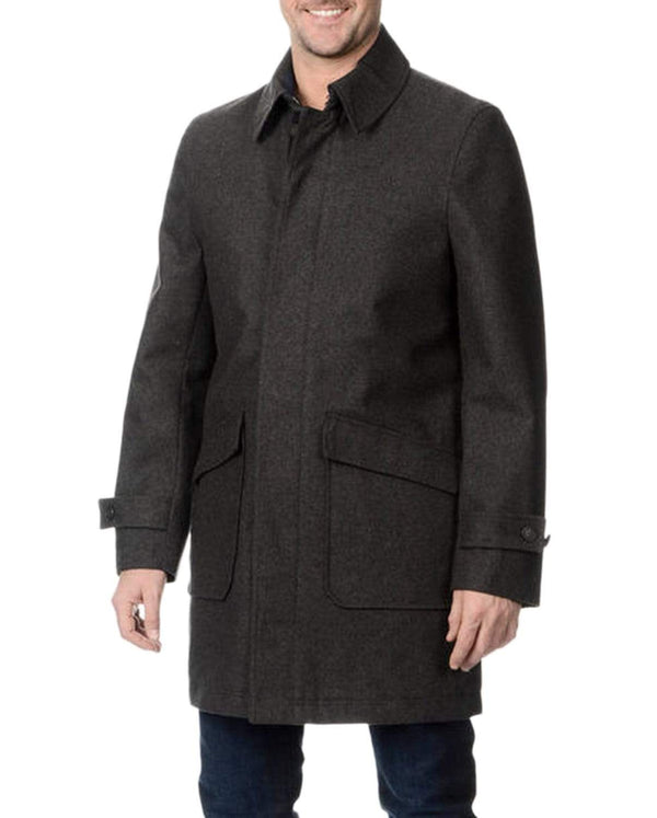 Nautica Mens Solid Charcoal Gray Wool Blend Lightweight Car Coat Jacket - The Suit Depot