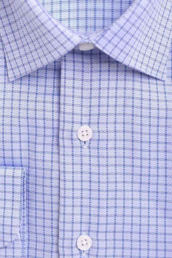 P.S. Shirts Mens Classic Fit Blue Check With Mini Diamonds Spread Collar Cotton Dress Shirt