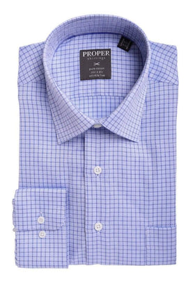 Mens Classic Fit Blue Check With Mini Diamonds Spread Collar Cotton Dress Shirt