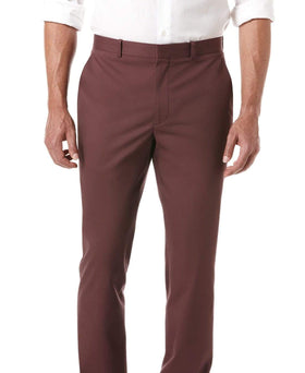 Perry Ellis Slim Fit Solid Burgundy Flat Front Cotton Blend Casual Pants