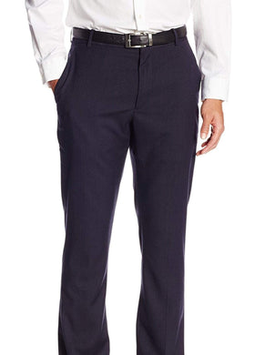 Perry Ellis Slim Fit Blue Herringbone Flat Front Non Iron Washable Dress Pants