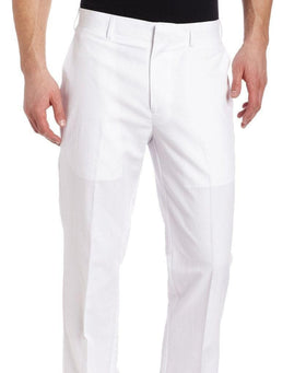 Perry Ellis Classic Fit Solid Bright White Flat Front Linen Cotton Pants