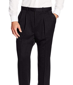 Perry Ellis Travel Luxe Regular Fit Solid Black Pleated Washable Dress Pants