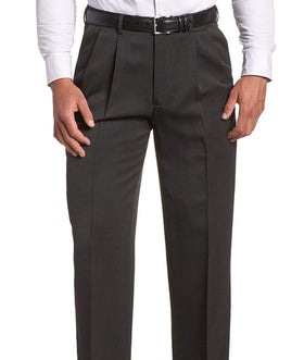 Perry Ellis Classic Fit Solid Gray Double Pleated Non Iron Washable Dress Pants
