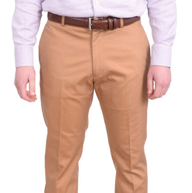 Perry Ellis Slim Fit Solid Khaki Tan Flat Front Washable Casual Pants