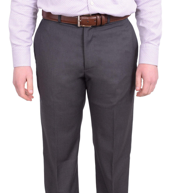 Perry Ellis Classic Fit Gray Herringbone Flat Front Washable Dress Pants - The Suit Depot