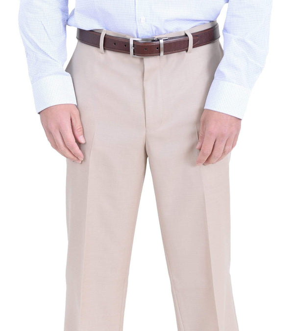 Private Label M PANTS 38W Mens Classic Fit Solid Light Tan Flat Front Wool Dress Pants