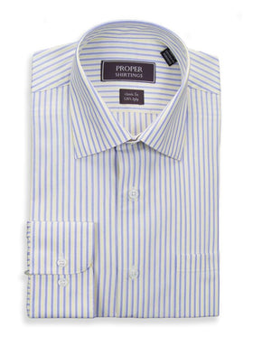 Classic Fit Yellow Blue Striped Spread Collar 120's Cotton Dress Shirt