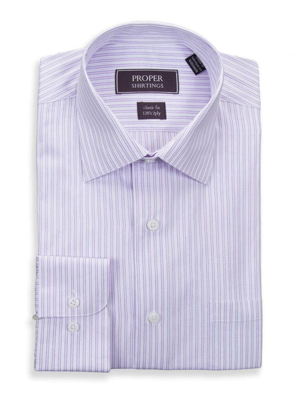 Proper Shirtings SHIRTS 15 1/2 34/35 Mens Classic Fit Lavender Striped Spread Collar 120's 2ply Cotton Dress Shirt