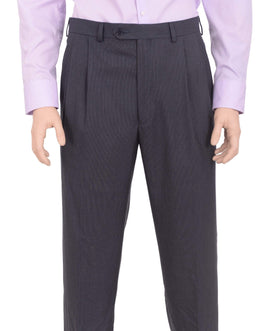 Ralph Lauren Classic Fit Blue Textured Double Pleated Washable Dress Pants