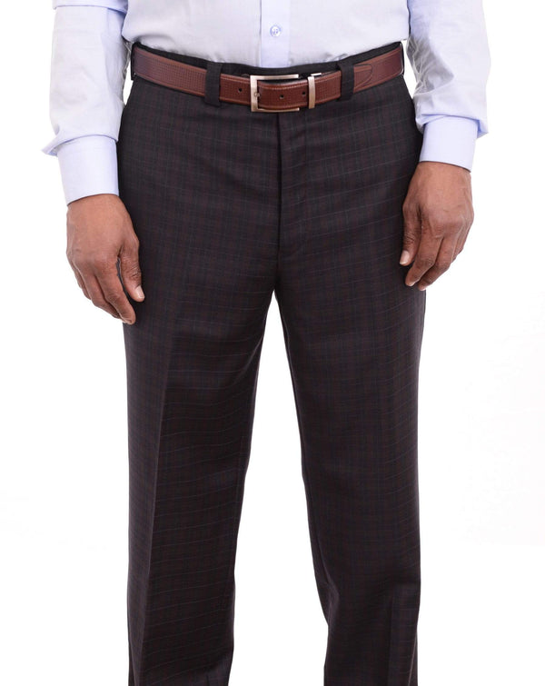 Ralph Lauren Classic Fit Charcoal Gray Check Flat Front Wool Dress Pants - The Suit Depot