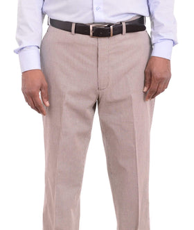 Ralph Lauren Classic Fit Black & Tan Check Flat Front Cotton Dress Pants