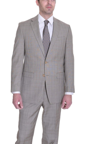 Ralph Lauren Regular Fit Tan Glen Plaid Two Button Wool Suit